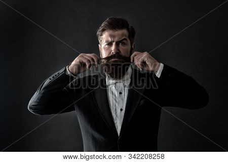 Proud Of His Moustache. Brutal Hipster Twirl Moustache. Serious Guy Wear Long Beard And Moustache. B
