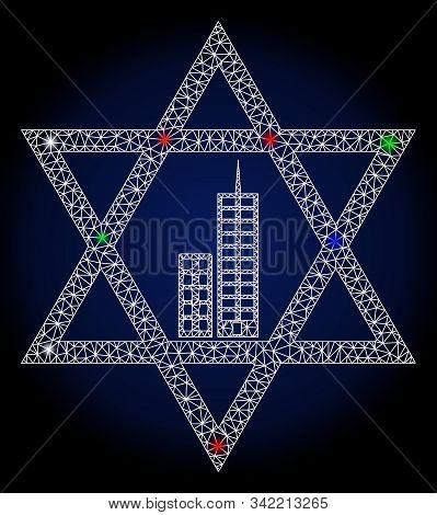 Glowing White Mesh Jerusalem Star With Glare Effect. Abstract Illuminated Model Of Jerusalem Star. S