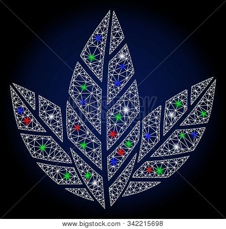Glossy White Mesh Tobacco Leaves With Glare Effect. Abstract Illuminated Model Of Tobacco Leaves. Sh