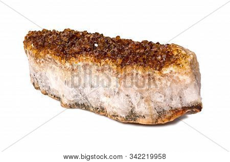 Citrine Mineral Close Up. Stone Crystals Isolated On White Background.