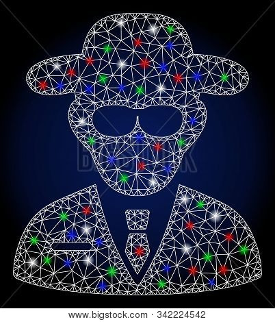 Glowing White Mesh Secure Agent With Sparkle Effect. Abstract Illuminated Model Of Secure Agent. Shi