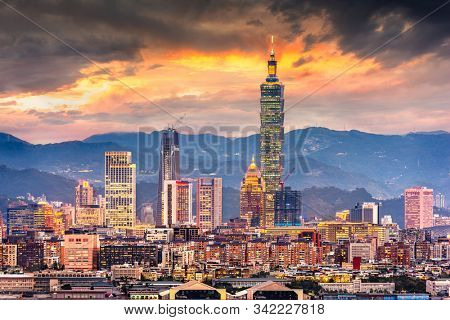Taipei, Taiwan urban cityscape at dusk towards the Xinyi Financial district at dusk.