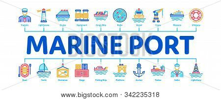 Marine Port Transport Minimal Infographic Web Banner Vector. Port Dock And Harbor, Lighthouse And An