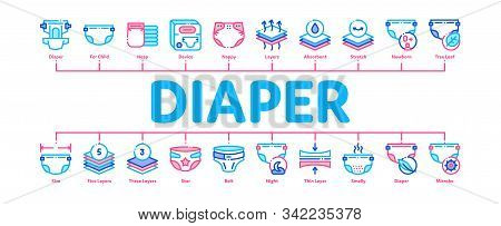 Diaper For Newborn Minimal Infographic Web Banner Vector. Diaper For Kids With Drop Of Liquid And Le