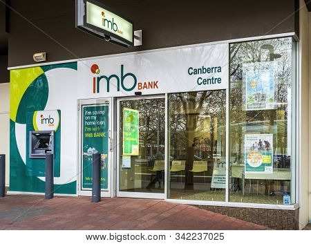 Canberra, Australia - Sep 3, 2018: The Imb Banking Branch Along Canberra Centre Mall. The Institutio