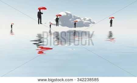 Men with red umbrellas floats above water surface. 3D rendering