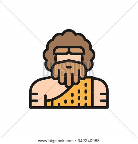 Primitive Man, Homo Sapiens, Neanderthal, Pithecanthropus Flat Color Line Icon.