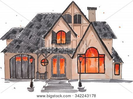 Cottage House Hand Drawn Marker Sketch Isolated On White Background. Template For Drawing And Scetch