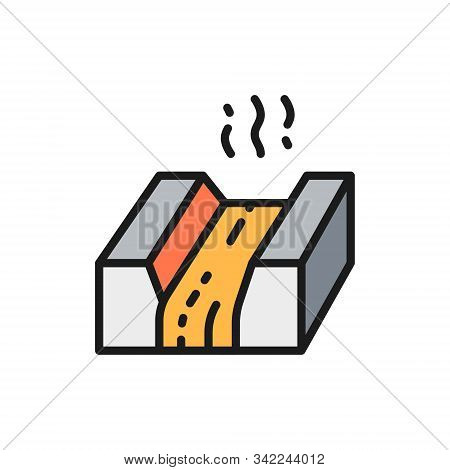 Molten Metal, Lava, Magma, Metallurgy Industry Flat Color Line Icon.