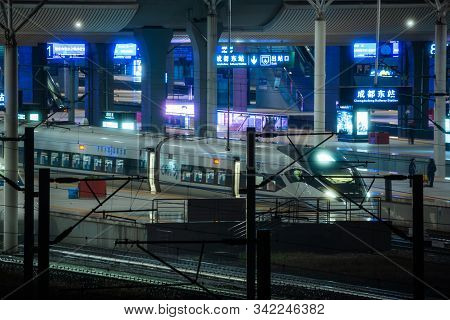 Chengdu, Sichuan Province, China - Oct 25, 2019 : High Speed Train At Night At The Chengdu East Rail