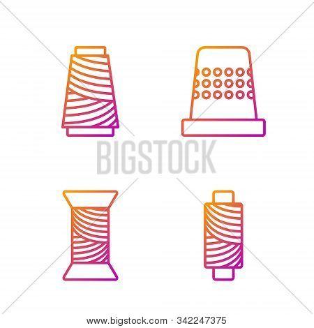 Set Line Sewing Thread On Spool, Sewing Thread On Spool, Sewing Thread On Spool And Thimble For Sewi