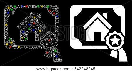 Flare Mesh Realty Certification Icon With Glitter Effect. Abstract Illuminated Model Of Realty Certi