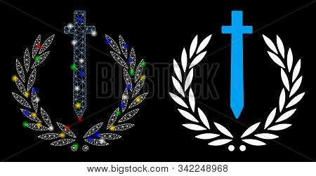 Glossy Mesh Sword Honor Embleme Icon With Glitter Effect. Abstract Illuminated Model Of Sword Honor