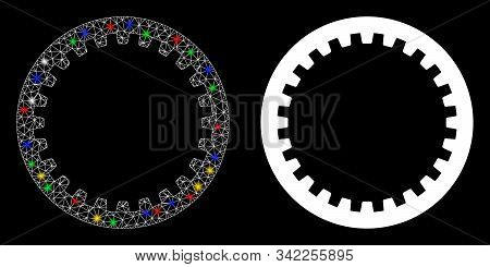 Glowing Mesh Annular Gear Icon With Lightspot Effect. Abstract Illuminated Model Of Annular Gear. Sh