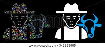 Glowing Mesh Cattle Farmer Icon With Glow Effect. Abstract Illuminated Model Of Cattle Farmer. Shiny