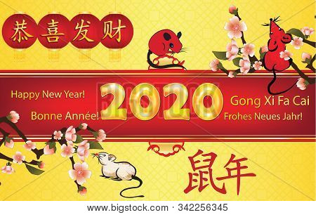 Happy Chinese New Year Of The Rat 2020! - Greeting Card With Text In Many Languages (english, French