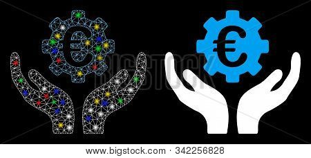 Bright Mesh Euro Maintenance Hands Icon With Glare Effect. Abstract Illuminated Model Of Euro Mainte