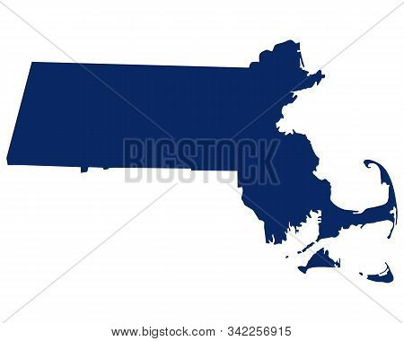 Detailed And Accurate Illustration Of Map Of Massachusetts In Blue Colour