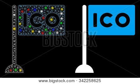 Glossy Mesh Ico Rectangle Flag Icon With Glare Effect. Abstract Illuminated Model Of Ico Rectangle F
