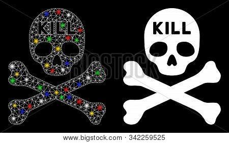 Glossy Mesh Kill Death Icon With Glare Effect. Abstract Illuminated Model Of Kill Death. Shiny Wire