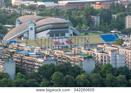 Chengdu, Sichuan Province, China - Sept 21, 2019 : Sichuan University Stadium Aerial View