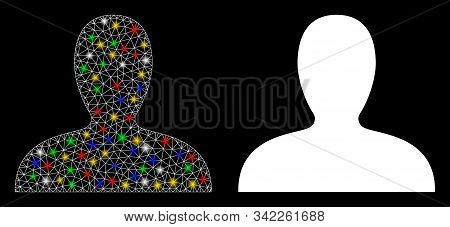 Glossy Mesh Client Icon With Sparkle Effect. Abstract Illuminated Model Of Client. Shiny Wire Carcas