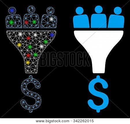 Glowing Mesh Sales Funnel Icon With Glare Effect. Abstract Illuminated Model Of Sales Funnel. Shiny