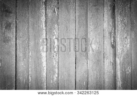 Gray And White Old Wood  Plank Texture Background. Top View Of Weathered Wooden Table. Vintage Wood