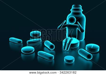 Small Man Sitting On Pill. Drugs And Pills On Dark Background, Medical Pill, Tablet Symbol. 3d Rende