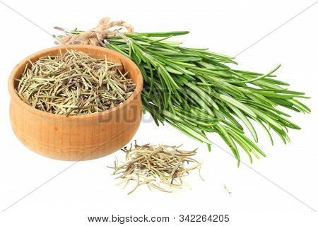 Rosemary Leaves Isolated On White Background. Rosemary Bunch