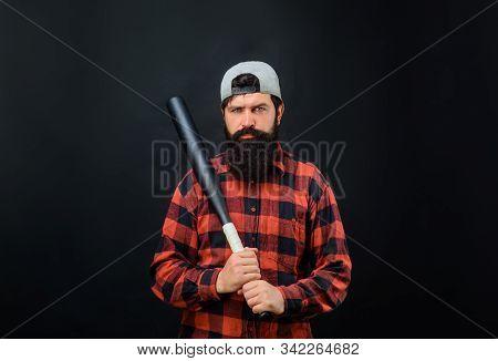 Sport. Bearded Man With Baseball Bat. Power And Energy Concept. Sport Equipment. Professional Baseba