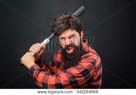 Power And Energy Concept. Angry Bearded Man With Baseball Bat. Sport Equipment. Professional Basebal