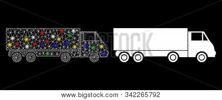 Glowing Mesh Wagon Icon With Glare Effect. Abstract Illuminated Model Of Wagon. Shiny Wire Frame Tri