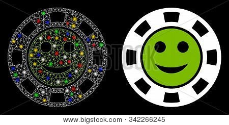 Glossy Mesh Glad Casino Chip Icon With Glow Effect. Abstract Illuminated Model Of Glad Casino Chip.