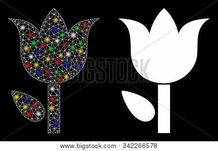 Glossy Mesh Tulip Icon With Lightspot Effect. Abstract Illuminated Model Of Tulip. Shiny Wire Frame