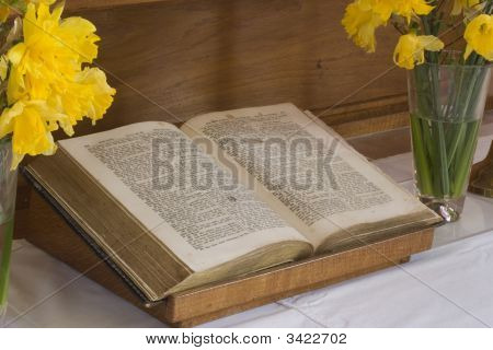 Open Bible On An Altar