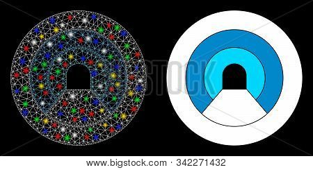 Glossy Mesh Pipe Tunnel Icon With Glow Effect. Abstract Illuminated Model Of Pipe Tunnel. Shiny Wire