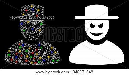 Glowing mesh malevolent gentleman icon with glare effect. Abstract illuminated model of malevolent gentleman. Shiny wire carcass triangular mesh malevolent gentleman icon. poster