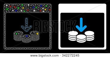 Bright Mesh Get Coins Calendar Page Icon With Glare Effect. Abstract Illuminated Model Of Get Coins
