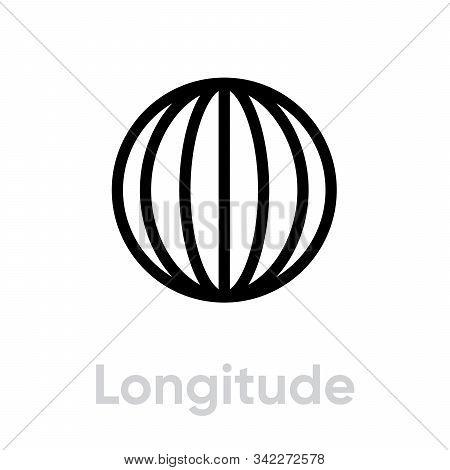 Longitude From Pole To Pole Meridians Icon