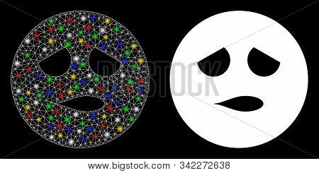 Flare Mesh Disturb Smiley Icon With Glow Effect. Abstract Illuminated Model Of Disturb Smiley. Shiny