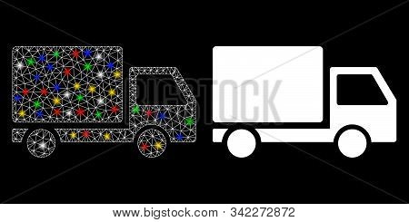 Glowing Mesh Delivery Lorry Icon With Glow Effect. Abstract Illuminated Model Of Delivery Lorry. Shi