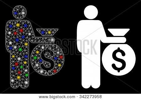 Glowing Mesh Investor Icon With Glow Effect. Abstract Illuminated Model Of Investor. Shiny Wire Fram
