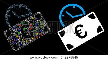 Glossy Mesh Euro Recurring Payment Icon With Glow Effect. Abstract Illuminated Model Of Euro Recurri