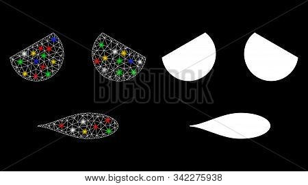 Glowing Mesh Sad Emoticon Smiley Icon With Glitter Effect. Abstract Illuminated Model Of Sad Emotico
