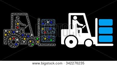 Flare Mesh Forklift Icon With Sparkle Effect. Abstract Illuminated Model Of Forklift. Shiny Wire Fra