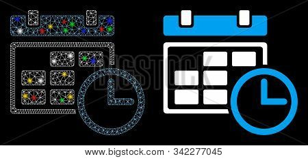 Flare Mesh Date And Time Icon With Sparkle Effect. Abstract Illuminated Model Of Date And Time. Shin