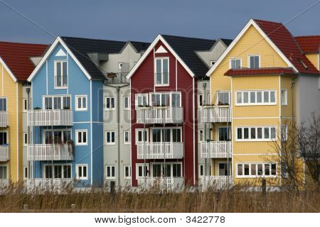 Colorful Houses Beside A River  Welsh Style)