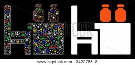Glossy Mesh Apothecary Table Icon With Sparkle Effect. Abstract Illuminated Model Of Apothecary Tabl