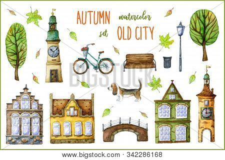 Cute Old Town Houses, Town Hall, Bell Tower, Bridge, Cartoon Trees, Retro Bike, Basset Hound Dog, Be